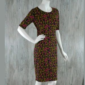 LulaRoe Julia Dress S Stretch Geometric